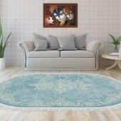 Decoling İpek 2089 Mavi Dekoratif Oval Halı