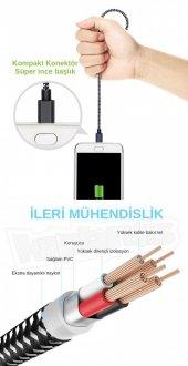 Diwu Micro USB Örgülü Yüksek Hızlı Şarj Kablosu Siyah-3