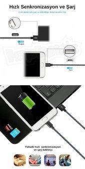 Diwu Micro USB Örgülü Yüksek Hızlı Şarj Kablosu Siyah-4