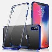 iPhone XS Max Mavi Köşeli Lazer Kılıf
