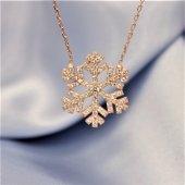 925 Ayar Gümüş Rose Altın Kaplama Zirkon Taşlı Kar Tanesi Kolye