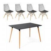 Eames Masa Sandalye Takımı Siyah 80x120 + 4 Tel...