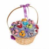 Yenilebilir Çikolatalı Badem Şekeri Çiçek Sepeti Renkli Bahçe (Yapay Çiçek)