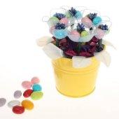 Yenilebilir Çikolatalı Badem Şekeri Çiçek Kovası Renkli Lale (Yapay Çiçek)
