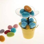 Yenilebilir Çikolatalı Badem Şekeri Çiçek Kovası Xs (Yapay Çiçek)