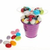 Yenilebilir Çikolatalı Badem Şekeri Çiçek Kovası Mini (Yapay Çiçek)