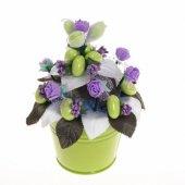 Yenilebilir Çikolatalı Badem Şekeri Çiçek Kovası Tanem (Yapay Çiçek)
