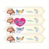 Uni Baby Sensitive Soft 56 Yaprak 4'lü Paket Islak Mendil