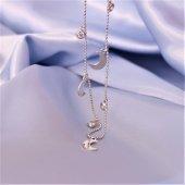 925 Ayar Gümüş Zirkon Taşlı Ve Hilal Figürlü Şans Kolye