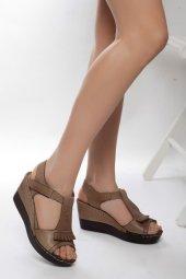 Hakiki Deri Kadın Sandalet Vizon