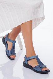Hakiki Deri Kadın Sandalet Mavi
