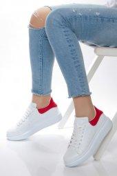 Kırmızı Detaylı Kadın Spor Ayakkabı Beyaz 102