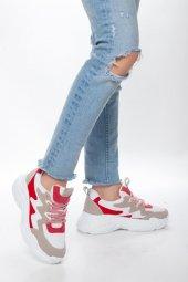 Kırmızı Beyaz Kadın Spor Ayakkabı