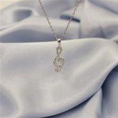 925 Ayar Gümüş Sol Anahtarı Kolye