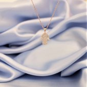 925 Ayar Gümüş Zirkon Taşlı Rose Gümüş Fatma Ana Eli Kolye