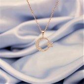 925 Ayar Gümüş Zirkon Taşlı Ay Yıldız Kolye Rose Altın Kaplama