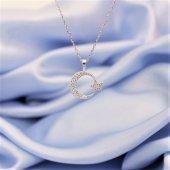 925 Ayar Gümüş Zirkon Taşlı Ay Yıldız Kolye Rodyum Kaplama
