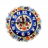 çiçek Desenli Kırmızı Çini Saat 25 Cm Kadife...