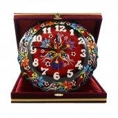 çiçek Desenli Kırmızı Çini Saat 18 Cm Bordo