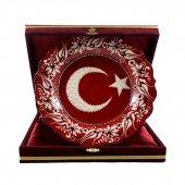 Türk Bayrağı Desenli Çini Tabak 25 Cm Bordo