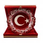 Türk Bayrağı Desenli Çini Tabak 25 Cm Kırmızı...