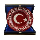 Türk Bayrağı Desenli Çini Tabak 25 Cm Lacivert...