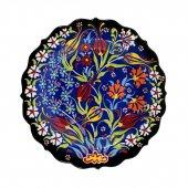 çiçek Desenli Mavi Çini Tabak 25 Cm Kadife...