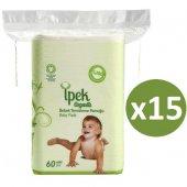 Ipek Organik Pamuk Bebek Temizleme Pamuğu 60lı X 15 Adet