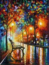 Türev Akşam Park Manzara Kanvas Tablo