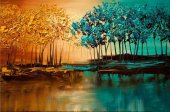 Türev İki Renk Orman Kanvas Tablo