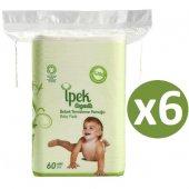 Ipek Organik Pamuk Bebek Temizleme Pamuğu 60lı * 6 Adet