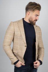 DeepSEA Hardal Sarısı Kırçıl Dokuma Büyük Kare Desenli Slim Fit Blazer Ceket 2000112-3