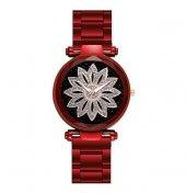 Kırmızı Renk Metal Kordon Çiçek Detaylı Kadın Kol Saati