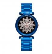 Mavi Renk Metal Kordon Çiçek Detaylı Kadın Kol Saati