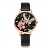 çiçek Desenli Siyah Renk Deri Kordon Kadın Kol Saati