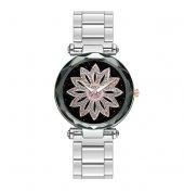 Gümüş Renk Metal Kordon Çiçek Detaylı Kadın Kol Saati
