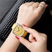 Sarı Renk Deri Kordon Kadın Kol Saati