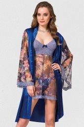 Mite Love Gecelik Ve Sabahlık Çiçek Desenli Mavi Takım
