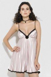 Mite Love Kadın Giyim Saten Gecelik Fileli Pudra
