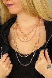 Trend Rose Renk Çoklu Bayan Metal Zincirli Kolye