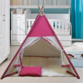 Altev Puantiyeli Ahşap Çoçuk Çadırı Kızılderili Çadırı Oyun Evi Oyun Çadırı Kamp Çadırı Rüya Evi