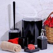 Akrilik 5 Parça Kare Siyah Banyo Seti