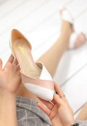 Nadia Beyaz Cilt Pudra Detaylı Topuklu Ayakkabı-5