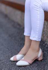 Nadia Beyaz Cilt Pudra Detaylı Topuklu Ayakkabı-2