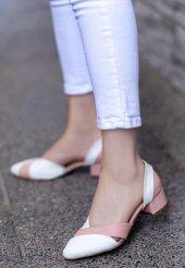 Nadia Beyaz Cilt Pudra Detaylı Topuklu Ayakkabı-4