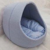 Evcil Hayvan Kedi Köpek Evi Yatağı Minderi İç Mekan Kulübe Mavi