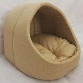 Evcil Hayvan Kedi Köpek Evi Yatağı Minderi İç Mekan Kulübe Altın Sarısı