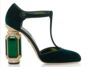 D&G Tasarım Bayan Lüx Kadife Topuklu Yeşil Ayakkabı [ Kadın ]