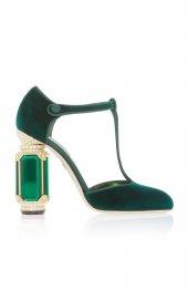 D&G Tasarım Bayan Lüx Kadife Topuklu Yeşil Ayakkabı [ Kadın ]-2