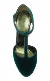 D&G Tasarım Bayan Lüx Kadife Topuklu Yeşil Ayakkabı [ Kadın ]-4